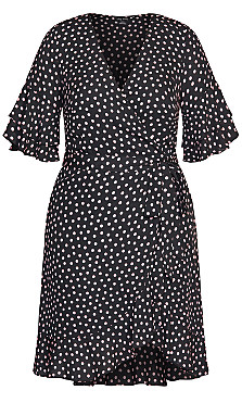 Spotty Flutter Dress - black