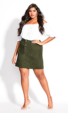 Raw Edge Skirt - khaki