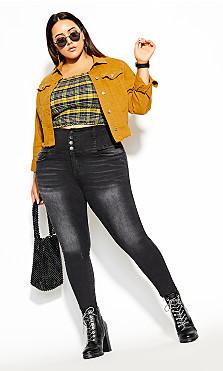 Denim Crop Jacket - gold