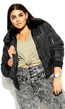 Plus Size Fly High Bomber Jacket - black