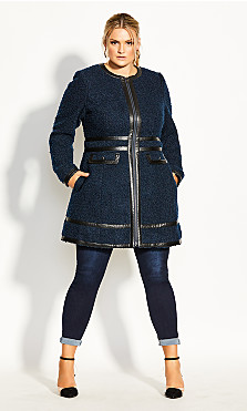 Plus Size Winter Escape Coat - navy