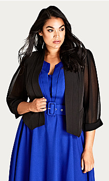 Plus Size Cropped Blazer Jacket - black