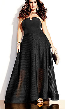 Plus Size Textured Bella Maxi Dress - black