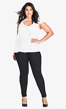 Plus Size Harley Short High Rise Skinny Jean - black