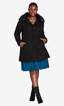 Women's Plus Size Sweet Dreams Coat - black