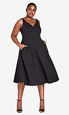 Women's Plus Size Cute Girl Fit & Flare Dress - Black