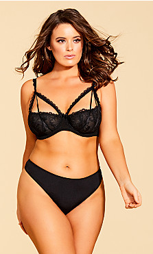 Plus Size Eve Microfiber Strappy Thong - Black