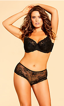 Plus Size Cosette Lace Hipster - Black
