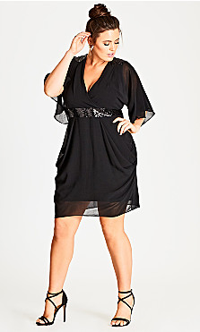 Plus Size Sequin Wrap Dress - black