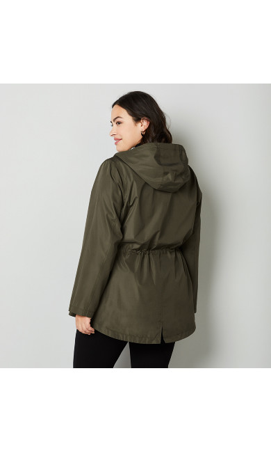 Reversible Anorak Parka In A Pocket - olive