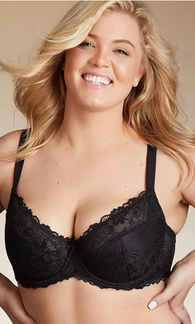 Plus Size Cosette Lace Demi Bra, Black