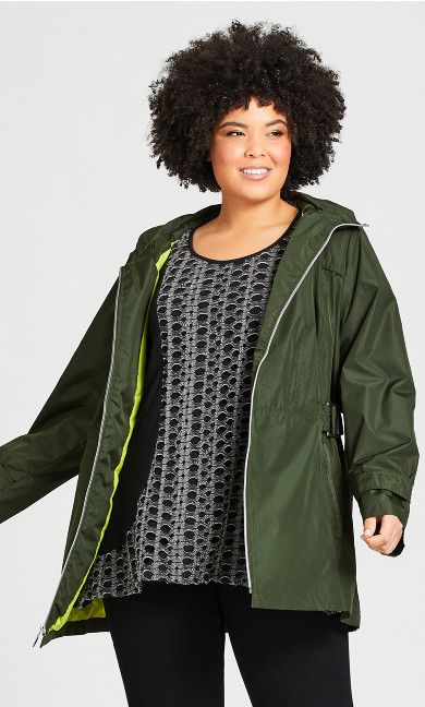 Plus Size Side Buckle Anorak - khaki