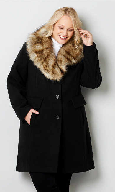 Long Faux Wool Coat with Removable Collar-Plus Size Coats-Avenue