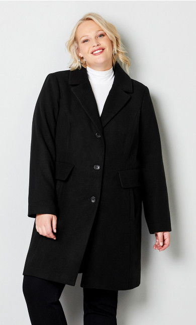 Long Faux Wool Coat with Removable Collar - black