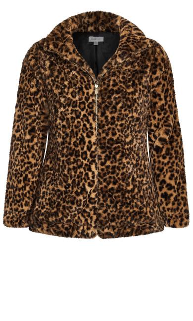 Leopard Faux Fur Jacket - leopard