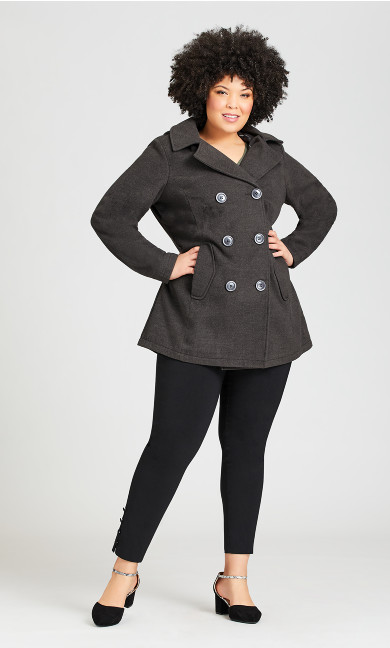 Plus Size Wool Peacoat With Removable Hood - gray