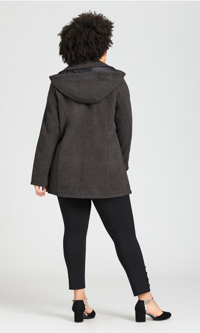 Classic Peacoat With Removable Hood - gray