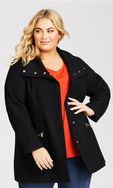 Plus Size Faux Wool Coat - black