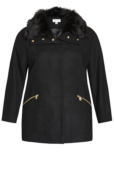 Faux Wool Coat - black