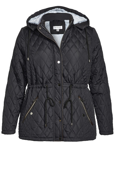 Faux Fur Lined Quilted Anorak - black