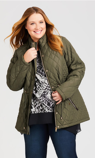 Plus Size Faux Fur Lined Quilted Anorak - olive