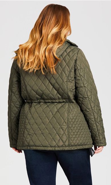 Faux Fur Lined Quilted Anorak - olive