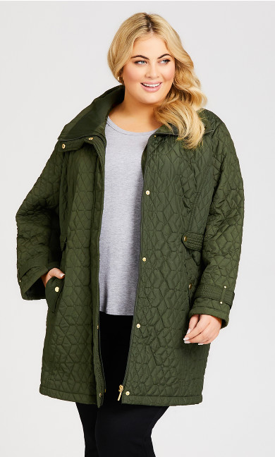 Plus Size Quilted Walking Jacket - green