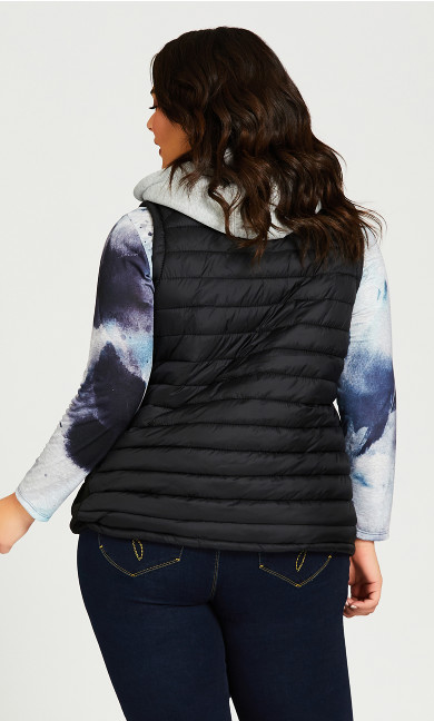 Quilted Vest With Removable Hood - black