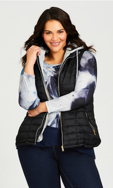 Plus Size Quilted Vest With Removable Hood - black
