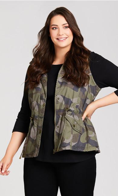 Plus Size Camo Faux Fur Anorak Vest - olive