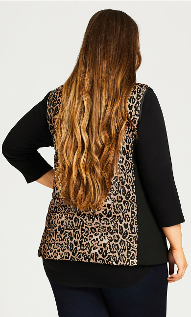 Animal Print Puffer Vest With Removable Faux Fur Collar - animal