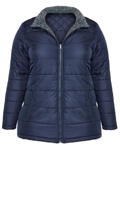 Reversible Fleece Quilt Jacket - navy