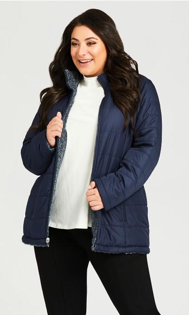 Plus Size Reversible Fleece Quilt Jacket - navy