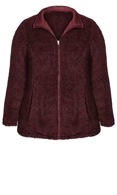 Reversible Fleece Quilt Jacket - wine