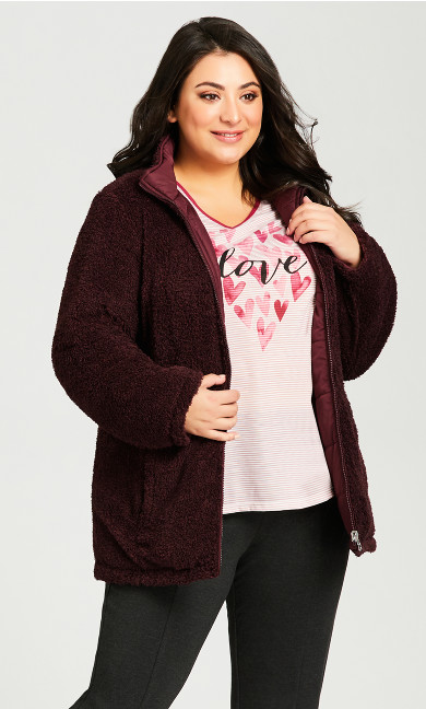 Plus Size Reversible Fleece Quilt Jacket - wine