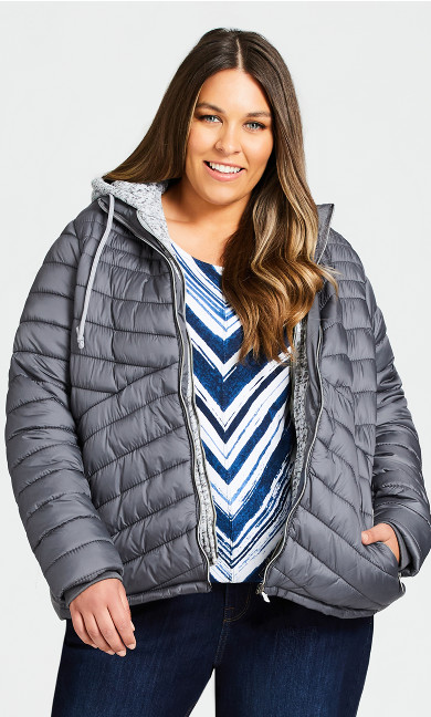 Plus Size Layered Knit Puffer Jacket - gray