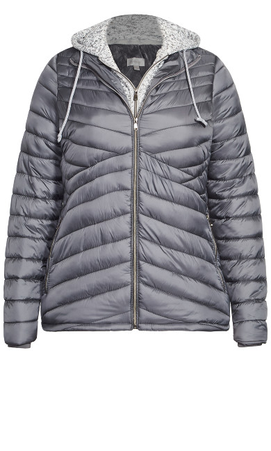 Layered Knit Puffer Jacket - gray