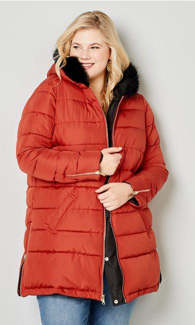 Plus Size Reversible Fur Hood Puffer Jacket - chili pepper