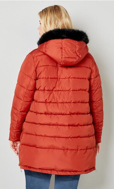 Reversible Fur Hood Puffer Jacket - chili pepper