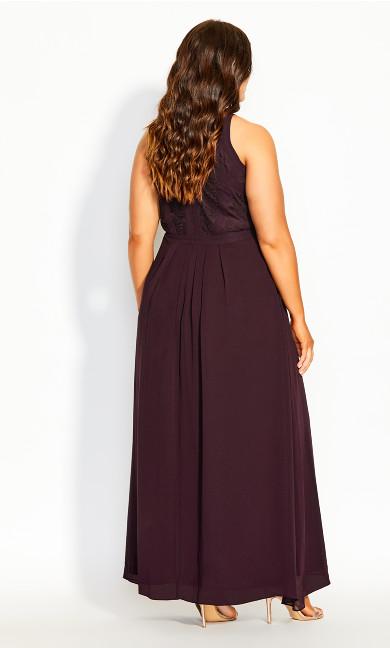 Panelled Bodice Maxi Dress - plum