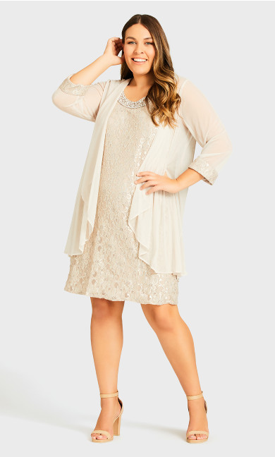 Chiffon Lace Jacket Dress