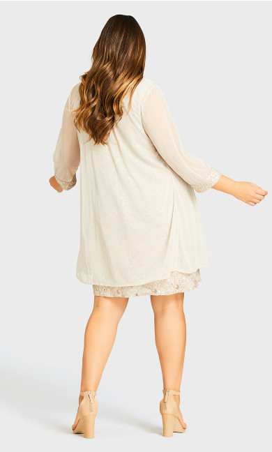 Chiffon Lace Jacket Dress - white