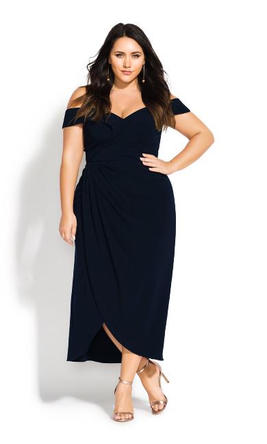 Women's Plus Size Rippled Love Dress - dark navy