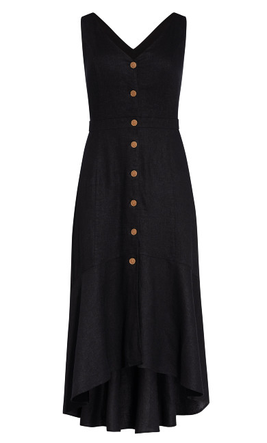 Sweetie Button Maxi Dress - black