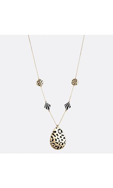 Leopard Enamel Long Necklace