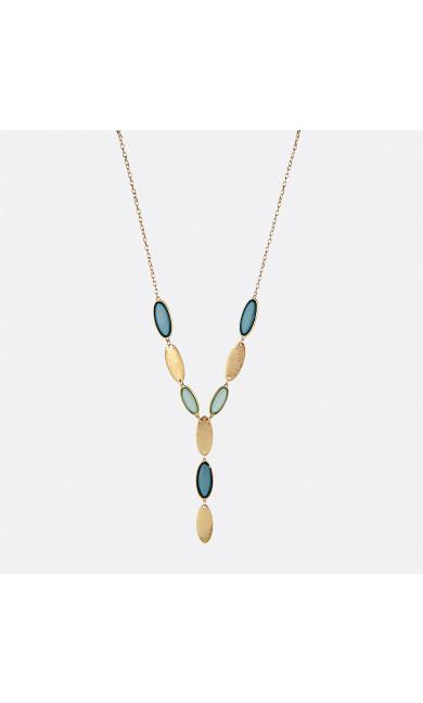 Blue Sea Glass Long Y-Necklace