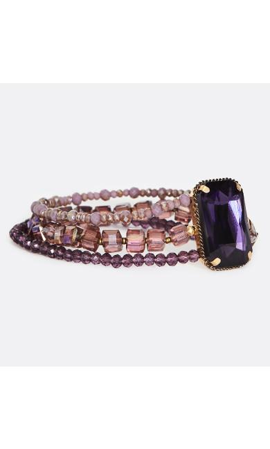 Beaded Elastic Bracelet with Gold Tone Backing