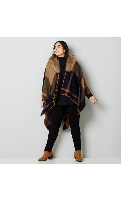 Faux Fur Trim Plaid Ruana