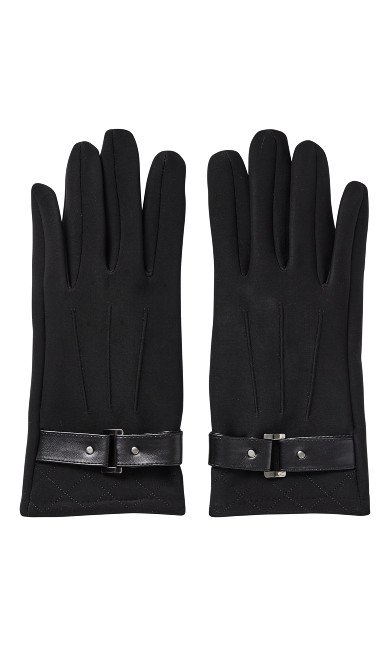 Faux Leather Strap Quilted Touch Screen Gloves