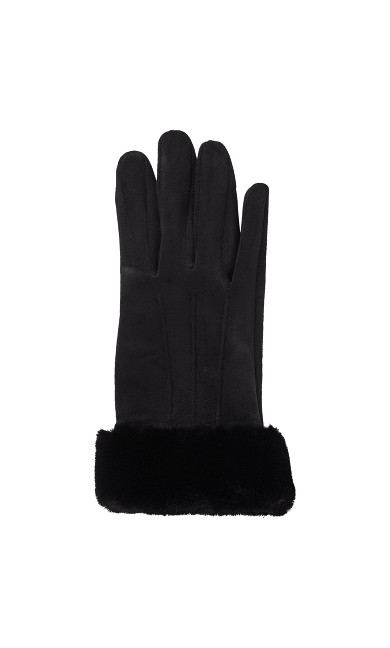 Faux Fur Trim Touch Screen Gloves